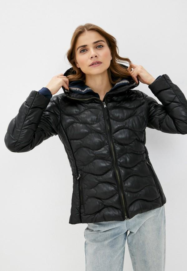 женская кожаные куртка blouson, черная