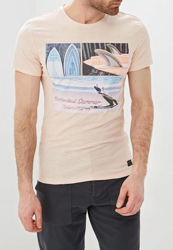 мужская футболка с коротким рукавом blend, розовая