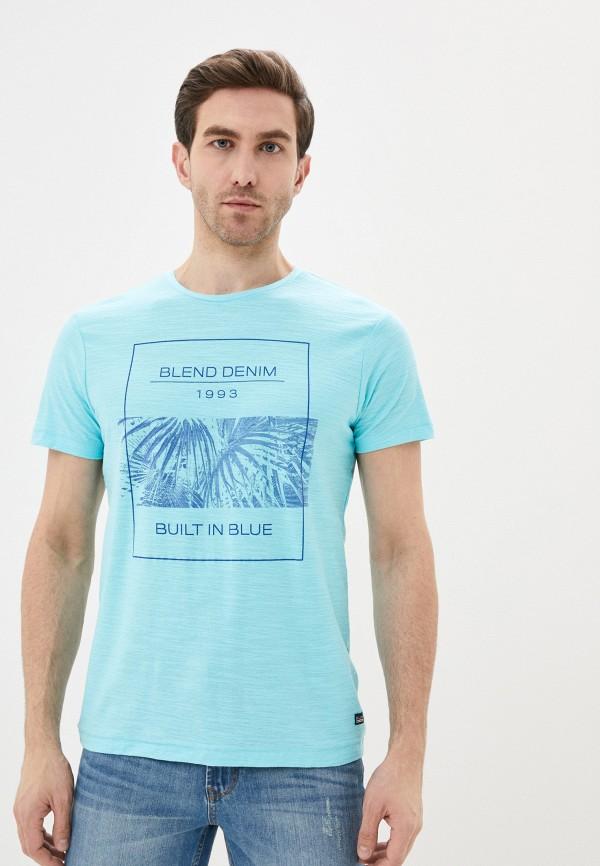 мужская футболка с коротким рукавом blend, голубая