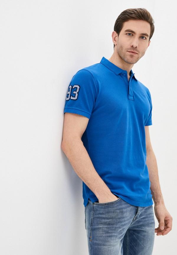 мужское поло с коротким рукавом blend, синее