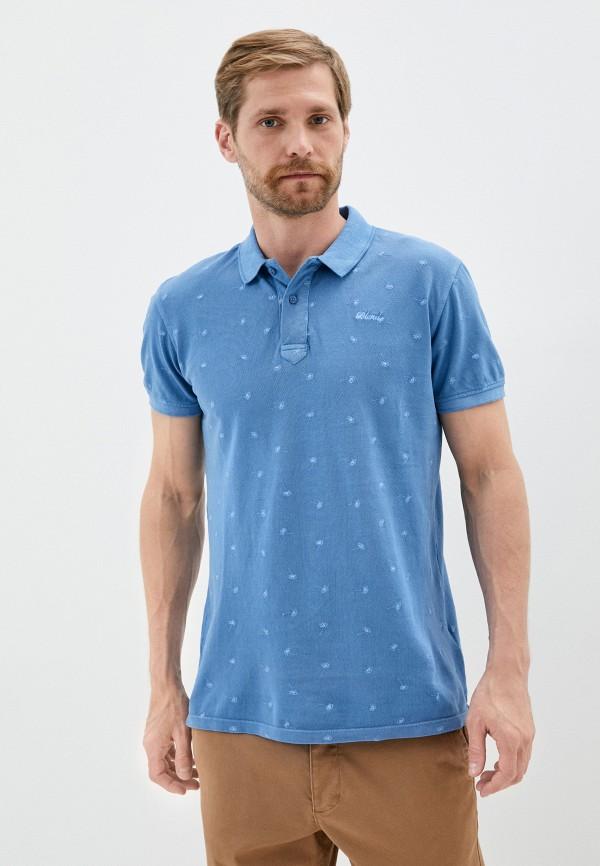 мужское поло blend, голубое