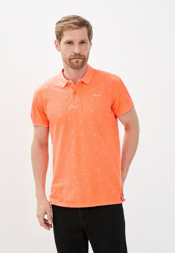 мужское поло с коротким рукавом blend, оранжевое