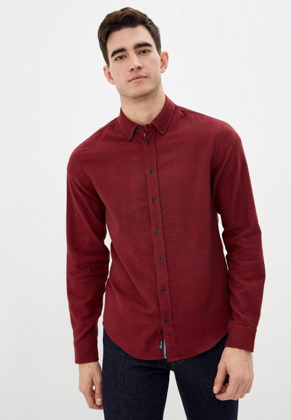 мужская рубашка с длинным рукавом blend, бордовая