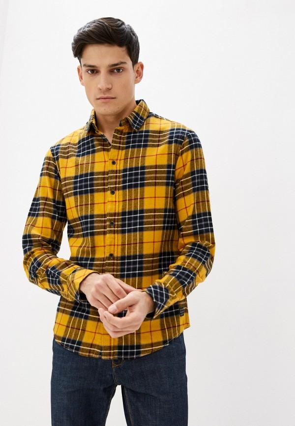 мужская рубашка с длинным рукавом blend, желтая