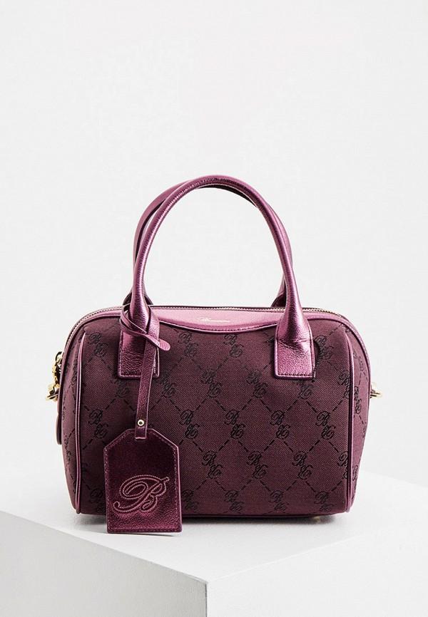 женская сумка с ручками blumarine, фиолетовая
