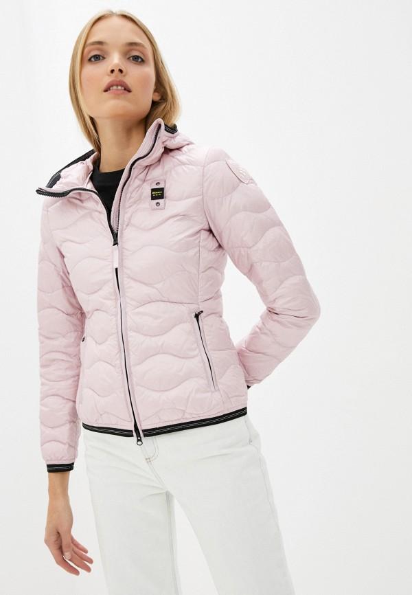 женский пуховик blauer usa, розовый