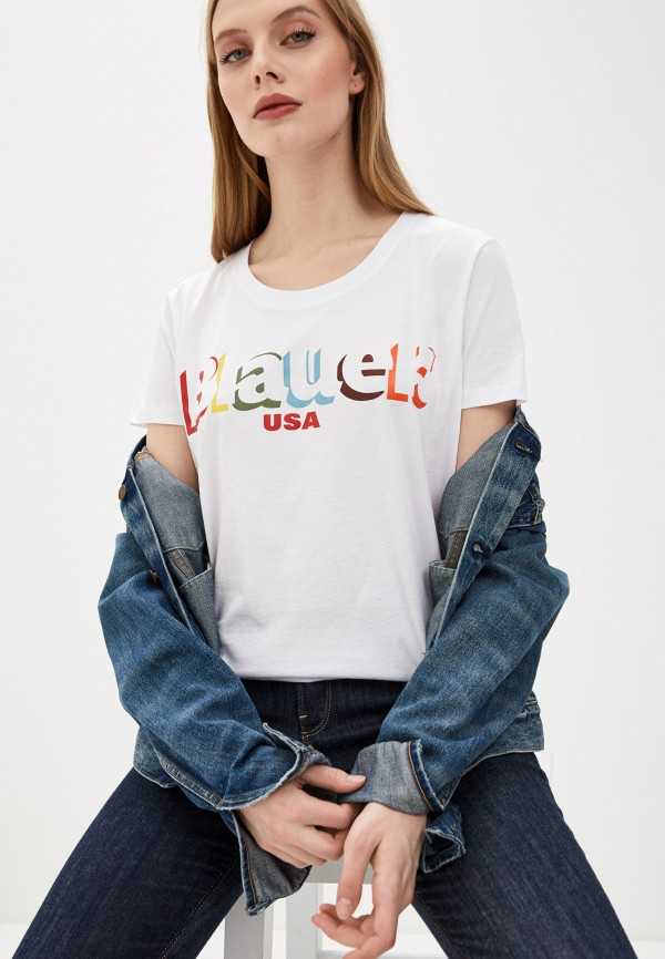 женская футболка blauer usa, белая