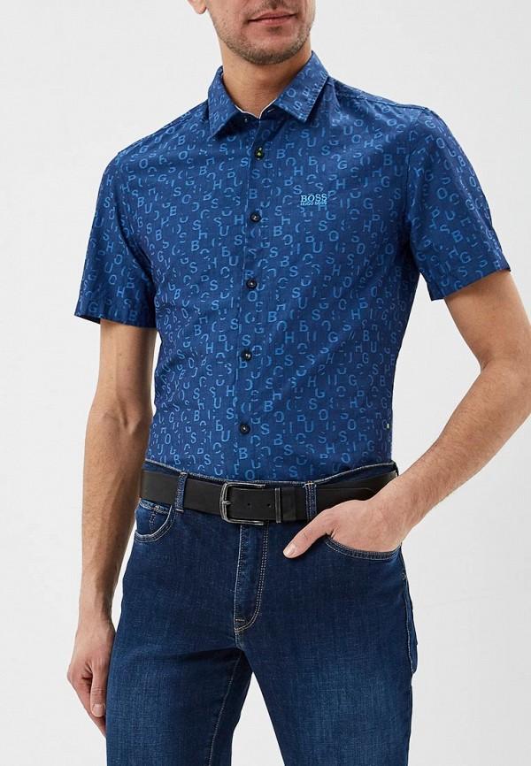 мужская рубашка с коротким рукавом boss, синяя