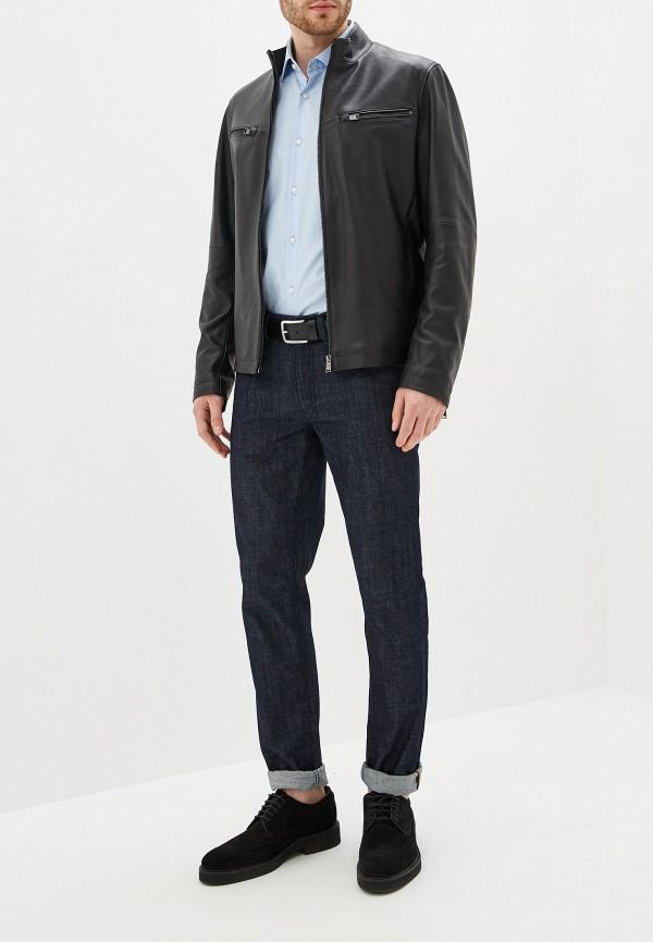 Фото 2 - Куртку кожаная Boss черного цвета