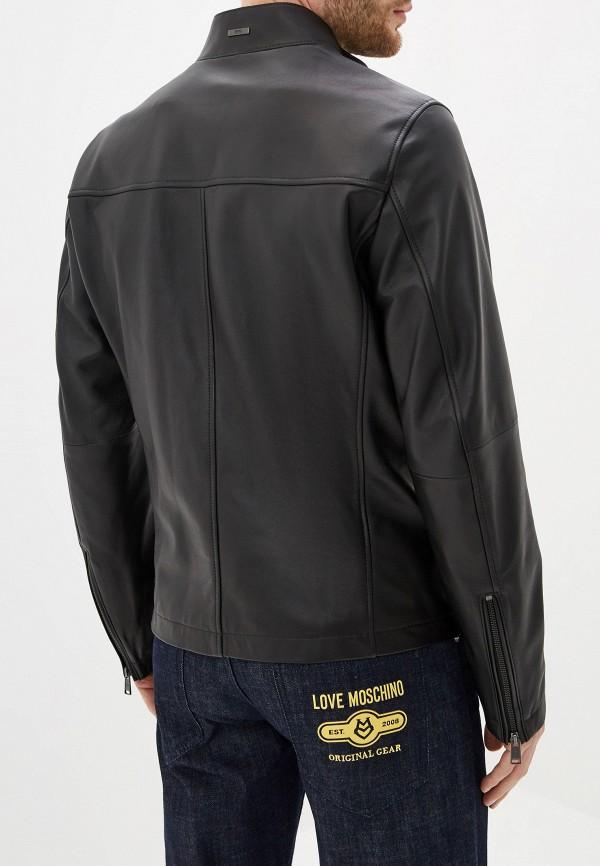 Фото 3 - Куртку кожаная Boss черного цвета