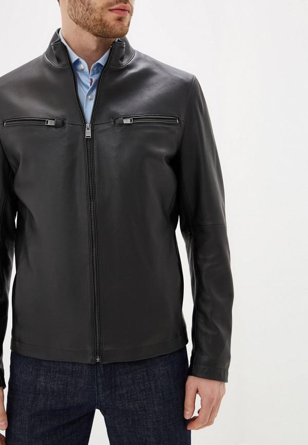 Фото 4 - Куртку кожаная Boss черного цвета