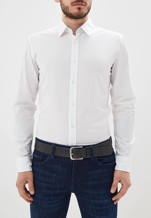 мужская рубашка с длинным рукавом boss, белая