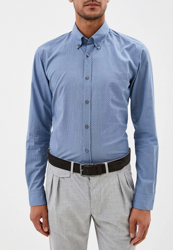 Фото 5 - мужскую рубашку Boss голубого цвета