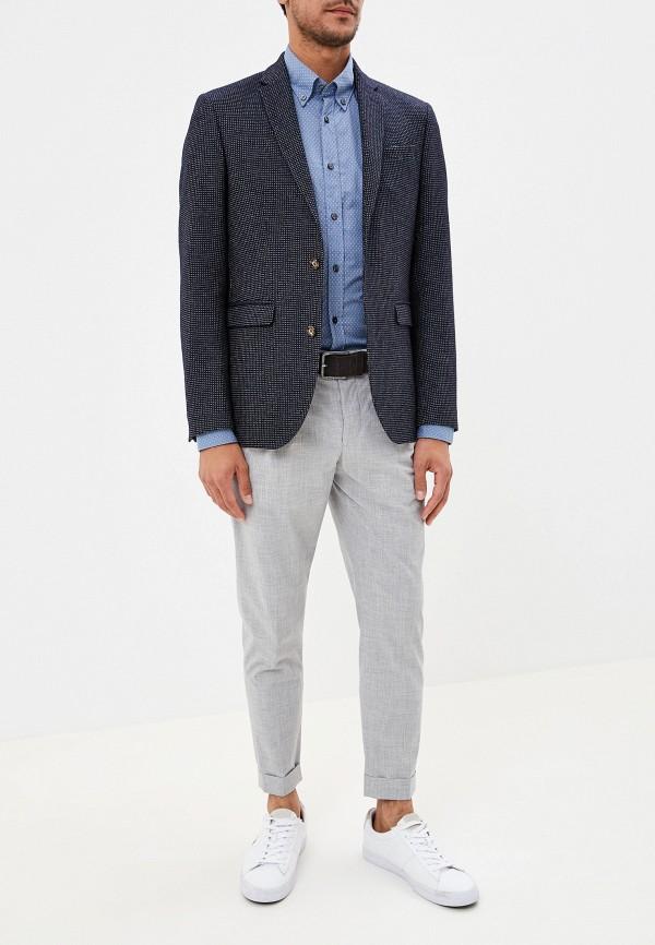 Фото 6 - мужскую рубашку Boss голубого цвета
