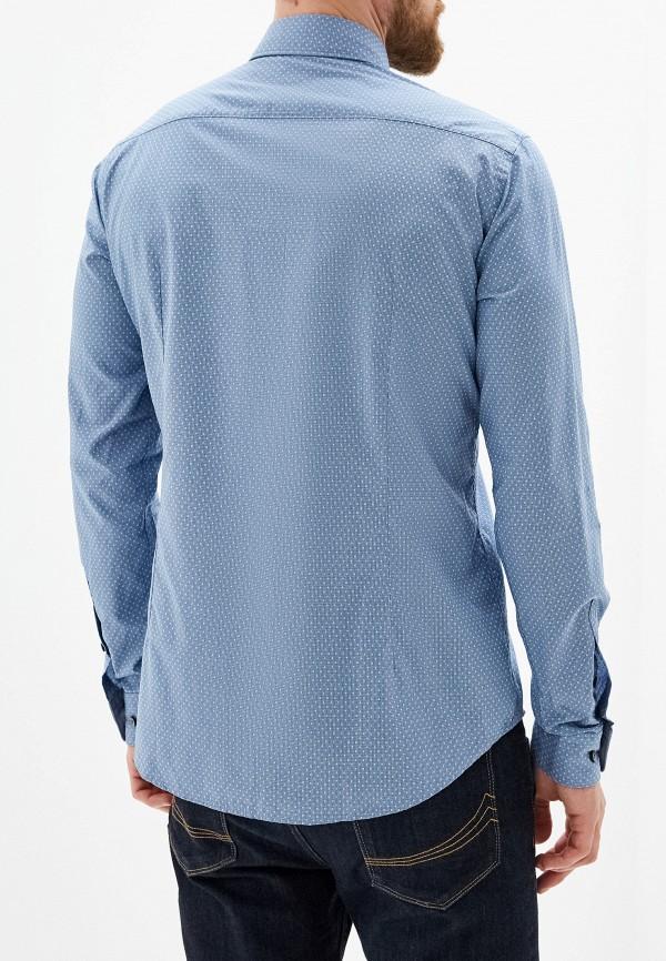 Фото 3 - мужскую рубашку Boss голубого цвета