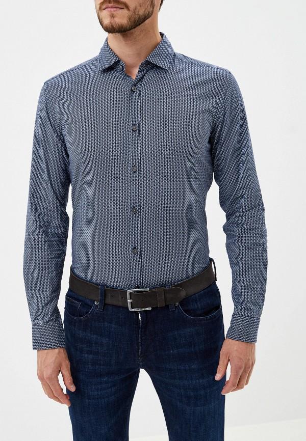 мужская рубашка с длинным рукавом hugo boss, синяя