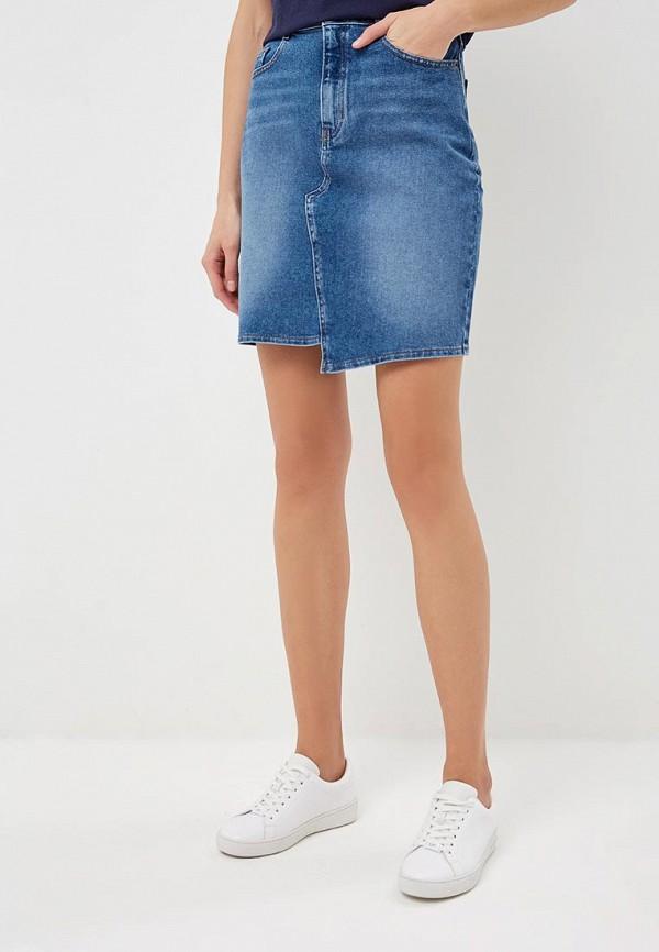 женская джинсовые юбка hugo boss, синяя