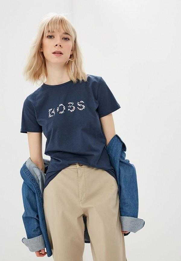 женская футболка hugo boss, синяя