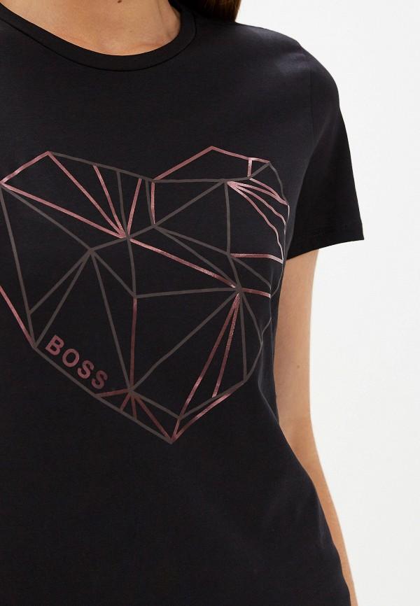 Фото 4 - женскую футболку Boss черного цвета