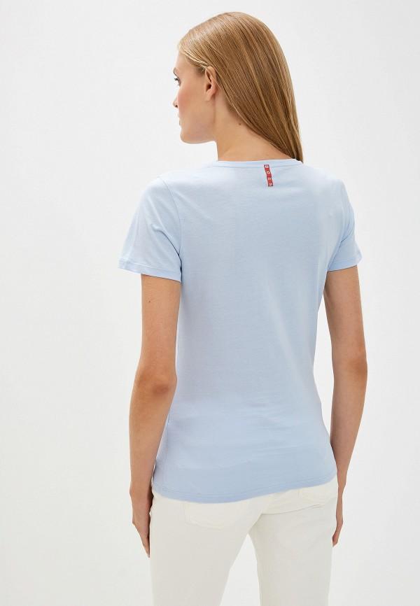 Фото 3 - женскую футболку Boss голубого цвета