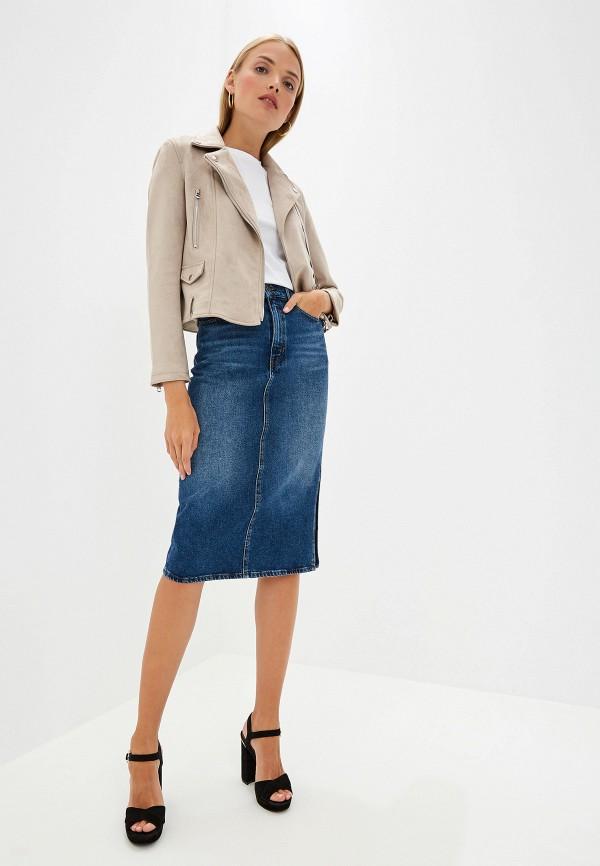 Фото 2 - Юбку джинсовая Boss Hugo Boss синего цвета