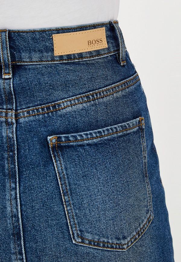 Фото 4 - Юбку джинсовая Boss Hugo Boss синего цвета