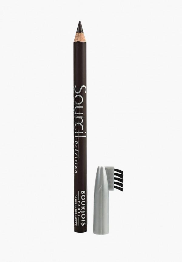 Купить Карандаш для бровей Bourjois, Контурный sourcil precision Тон 08 brun brunette, BO031LWLRS39, коричневый, Осень-зима 2018/2019