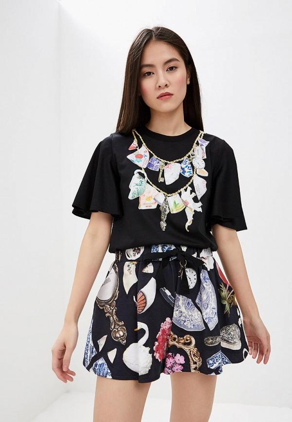 женская футболка boutique moschino, черная