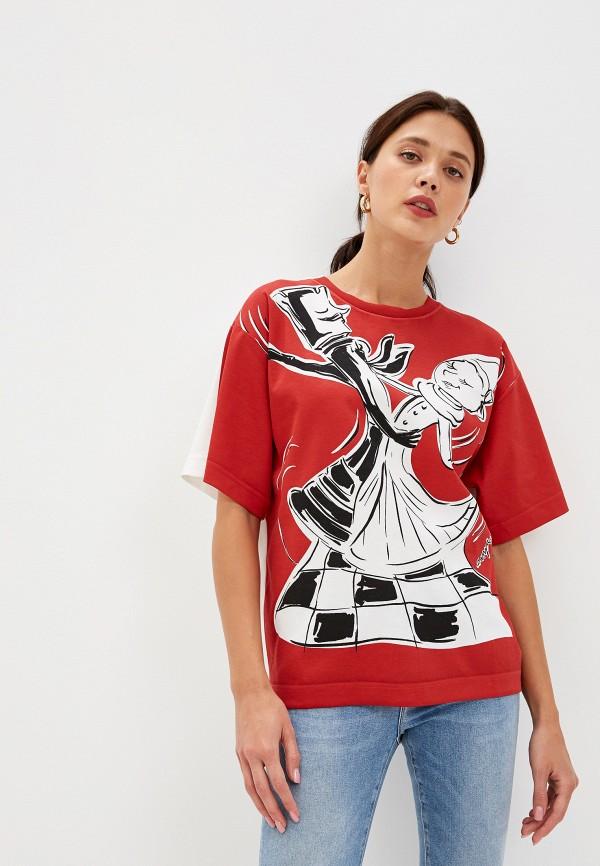 женская футболка boutique moschino, красная