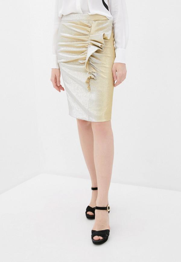 женская прямые юбка boutique moschino, золотая