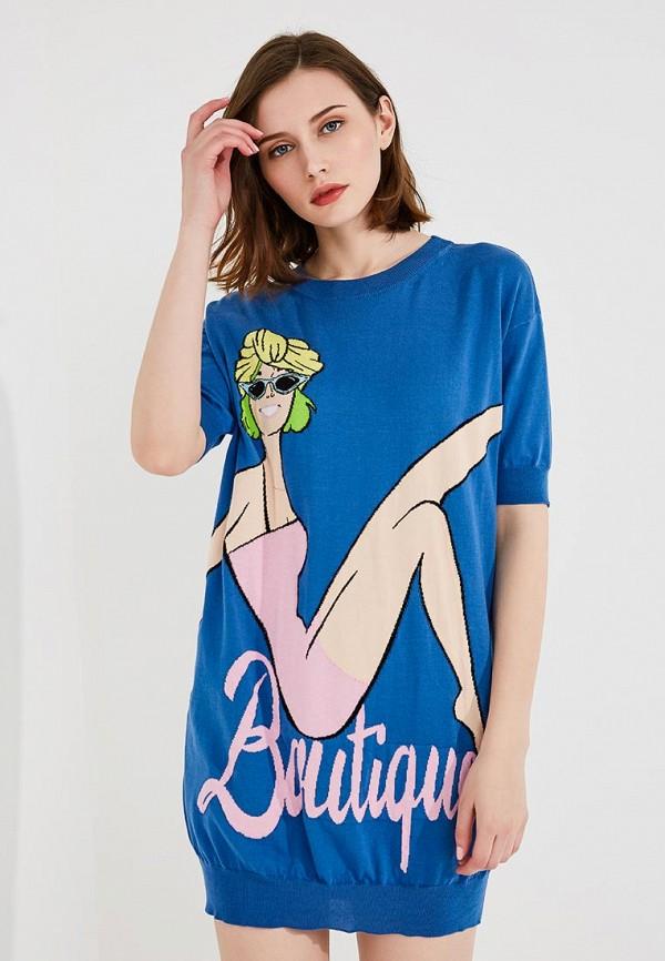 женское повседневные платье boutique moschino, синее