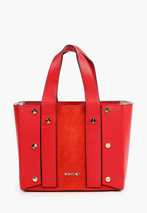женская сумка с ручками bosccolo, красная