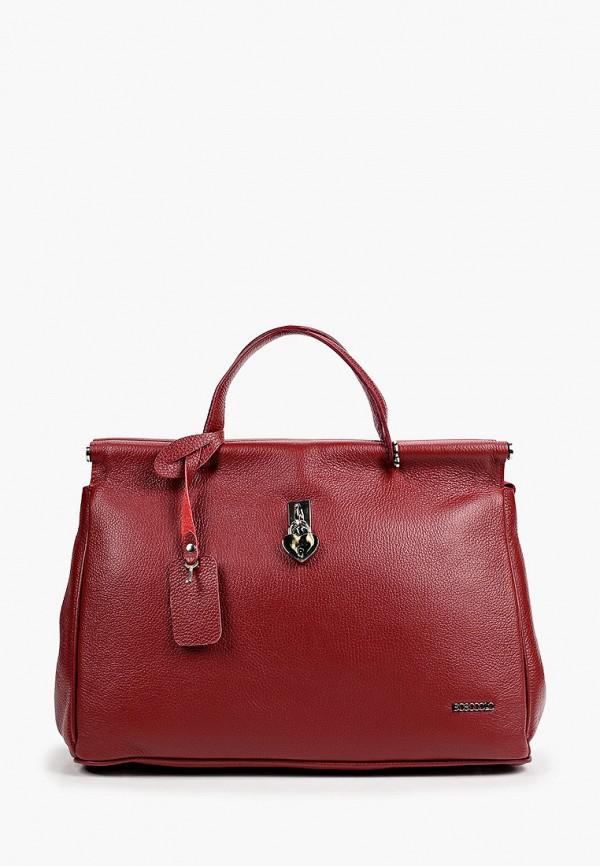 женская сумка с ручками bosccolo, бордовая