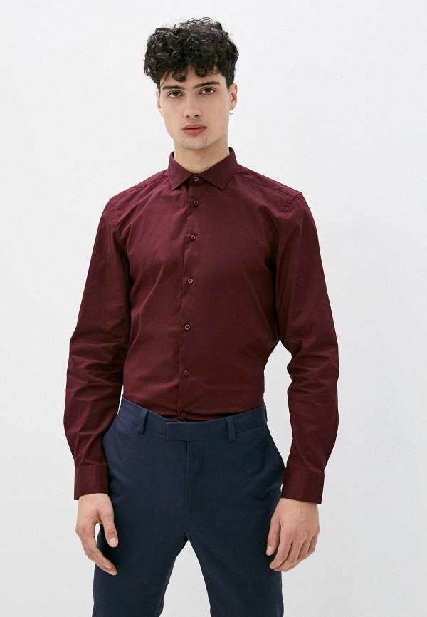 мужская рубашка с длинным рукавом boston, бордовая