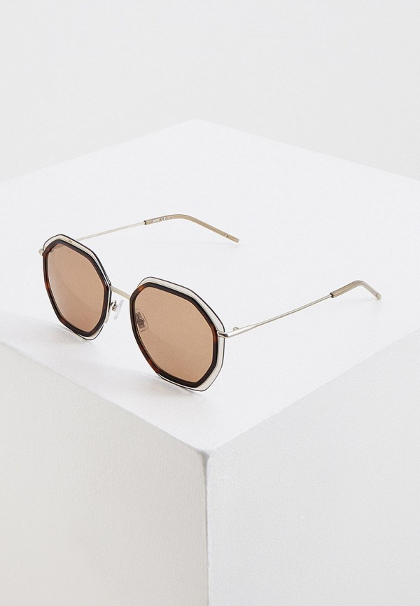 женские круглые солнцезащитные очки boss, серебряные