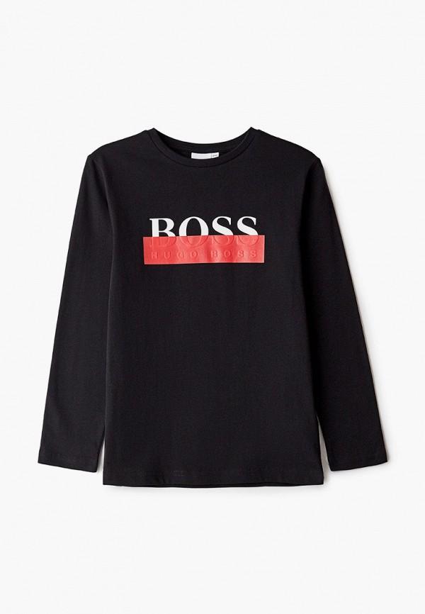 лонгслив boss для мальчика, черный