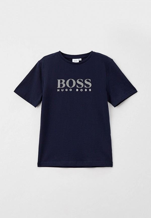футболка с коротким рукавом boss для мальчика, синяя
