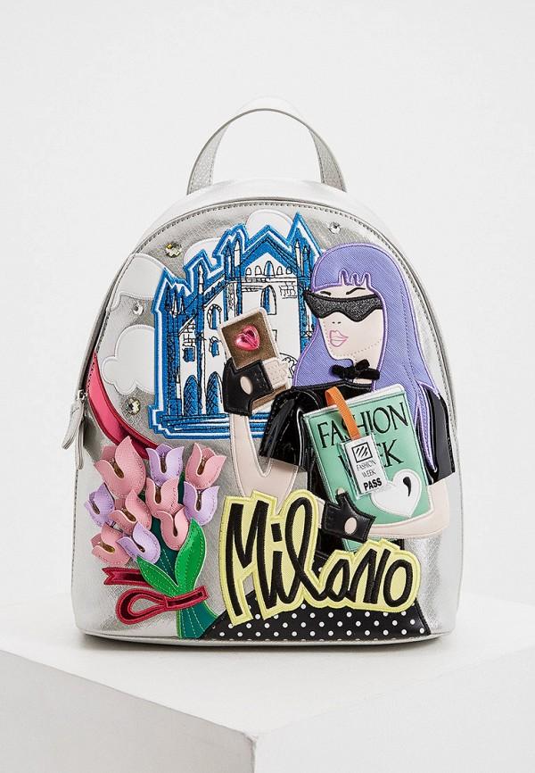 женский рюкзак braccialini, серебряный