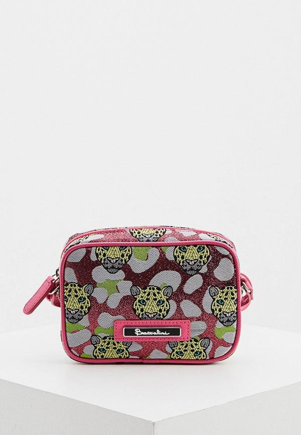 женская сумка через плечо braccialini, розовая