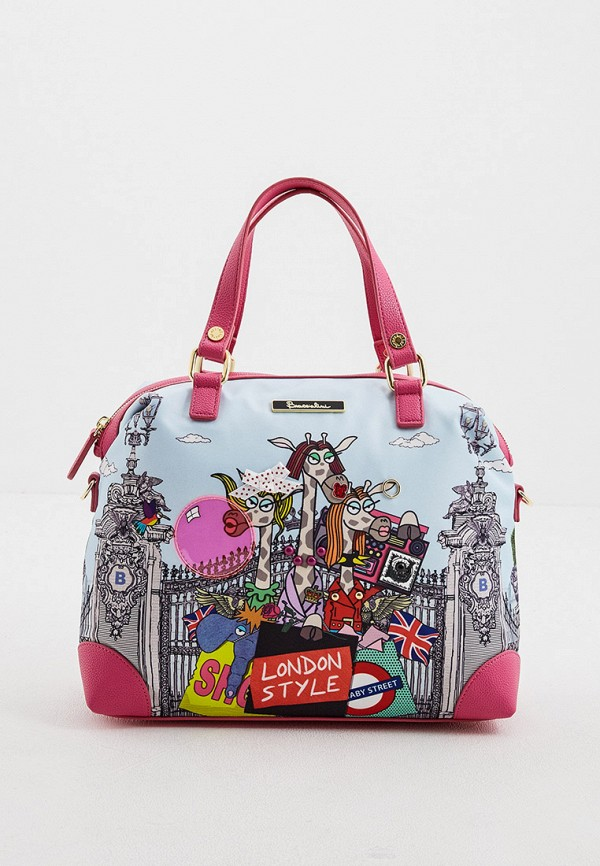 женская сумка с ручками braccialini, голубая