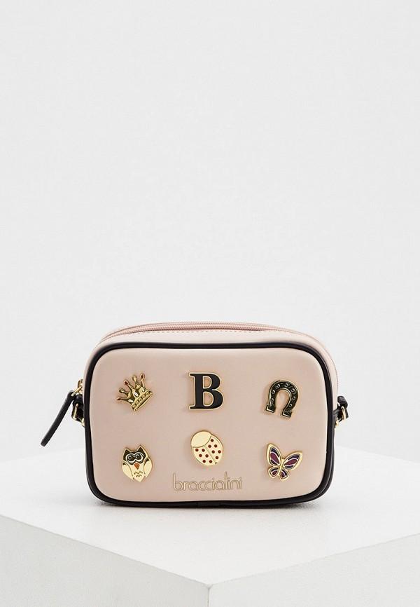 женская сумка braccialini, розовая