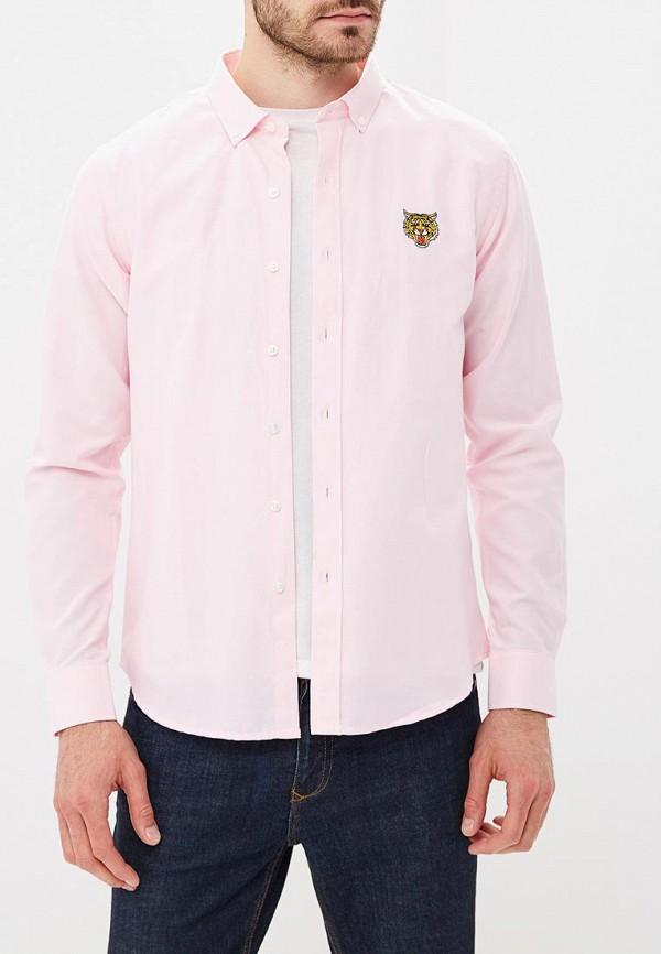 мужская рубашка с длинным рукавом brave soul, розовая