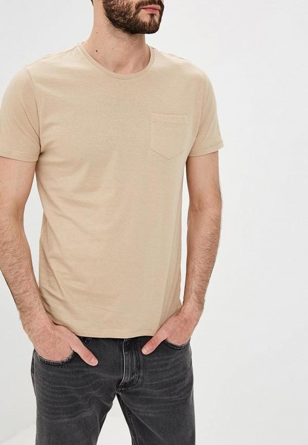 мужская футболка с коротким рукавом brave soul, бежевая