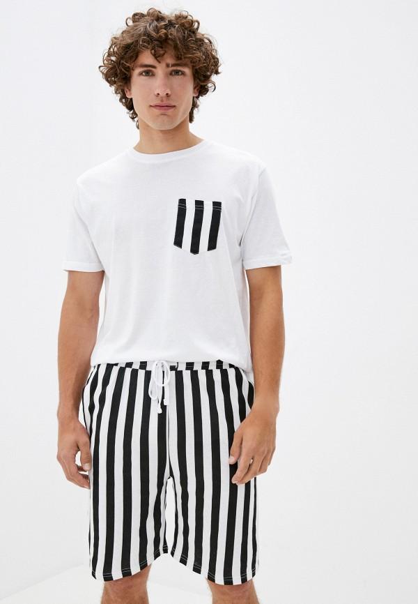 мужская пижама brave soul, белая
