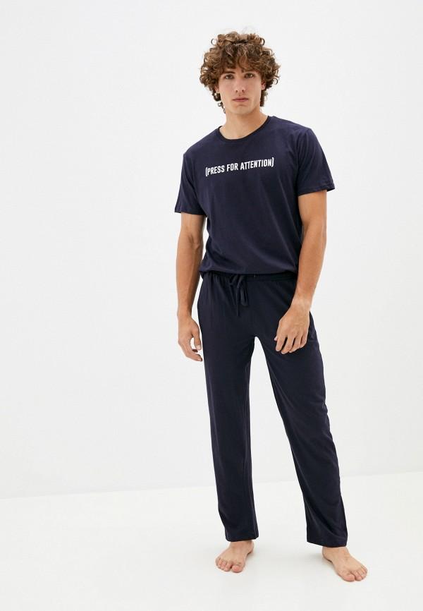 мужская пижама brave soul, синяя
