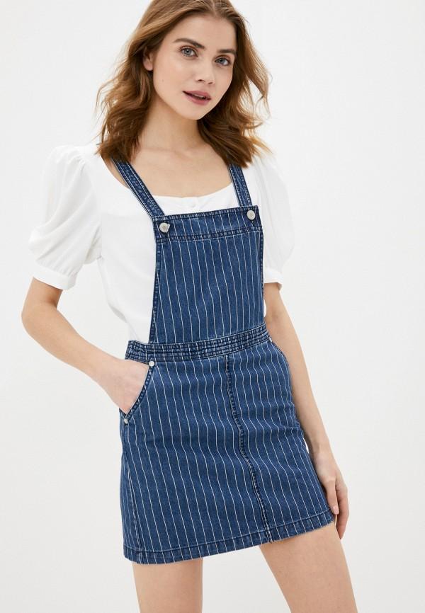 женский джинсовые сарафан brave soul, синий