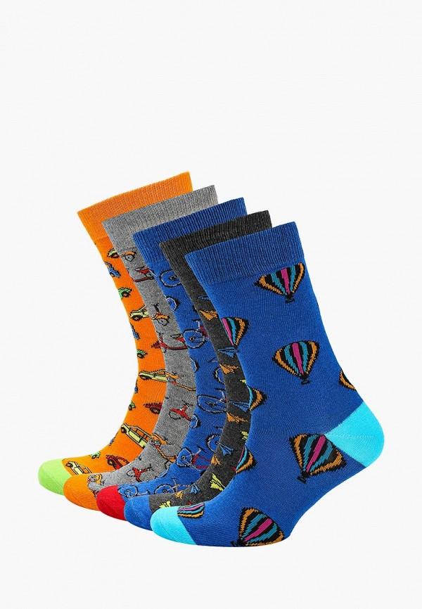 Носки  оранжевый, серый, синий цвета
