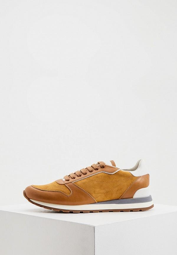 мужские низкие кроссовки brunello cucinelli, коричневые