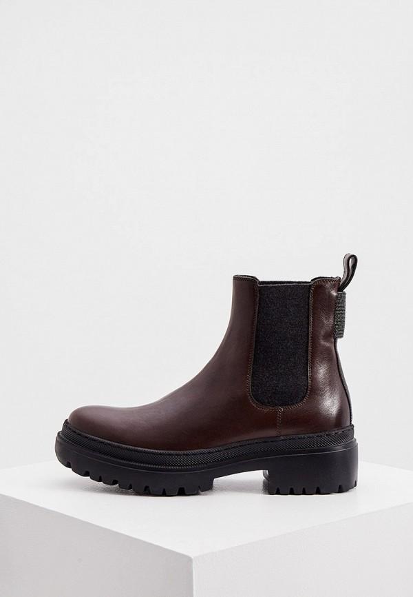 женские ботинки-челси brunello cucinelli, коричневые