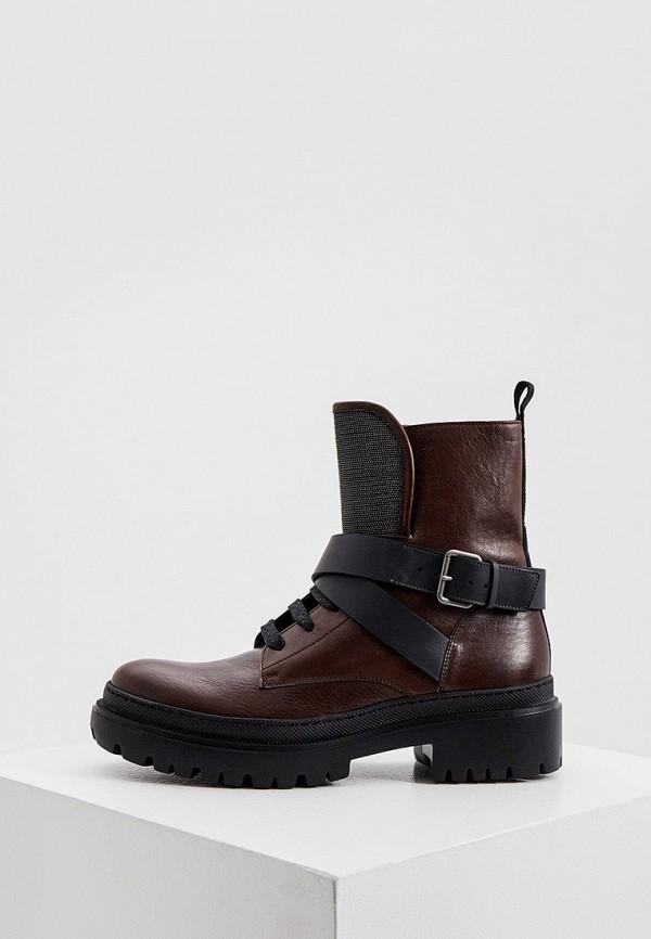 женские высокие ботинки brunello cucinelli, коричневые